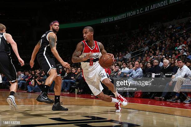 Eric Maynor of the Washington Wizards handles the ball against the Brooklyn Nets at the Verizon Center on November 8 2013 in Washington DC NOTE TO...