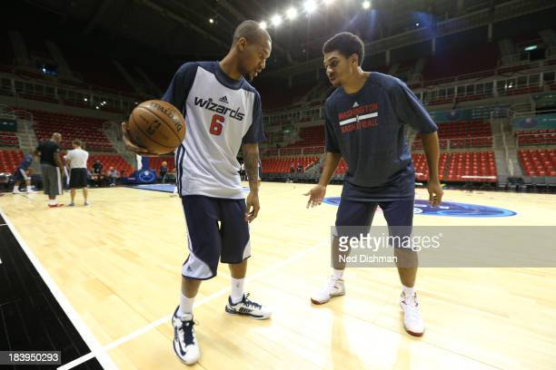 Eric Maynor of Washington Wizards dribbles during practice as part of 2013 Global Games on October 10 2013 at HSBC Arena in Rio de Janiero Brazil...