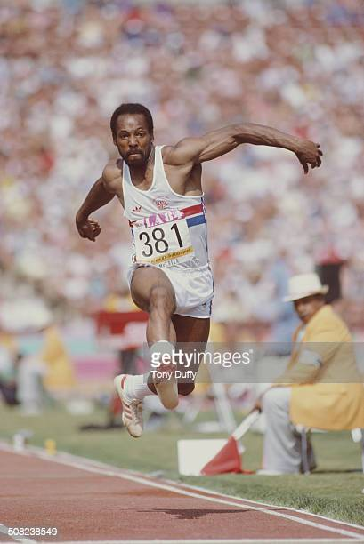 Eric McCalla of Great Britain competes in the Men's Triple Jump event at the XXIII Olympic Summer Games on 4th August 1984 at the Los Angeles...