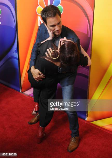 Eric McCormack and Megan Mullally arrive at the 2017 Summer TCA Tour NBC Press Tour at The Beverly Hilton Hotel on August 3 2017 in Beverly Hills...