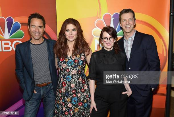 Eric McCormack Debra Messing Megan Mullally and Sean Hayes at the NBCUniversal Summer TCA Press Tour at The Beverly Hilton Hotel on August 3 2017 in...