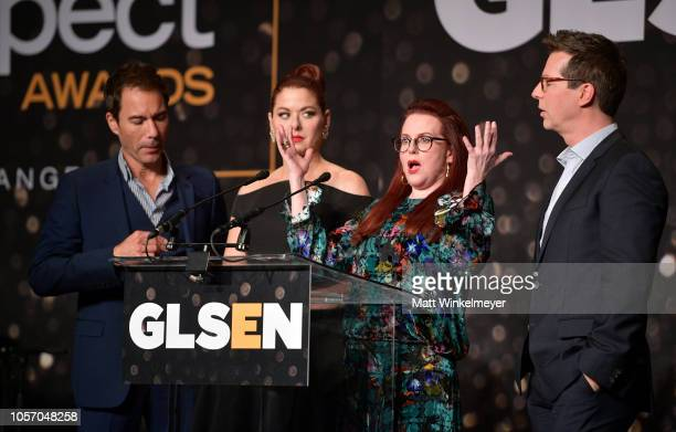Eric McCormack Debra Messing Megan Mullally and Sean Hayes attend the GLSEN Respect Awards at the Beverly Wilshire Four Seasons Hotel on October 19...