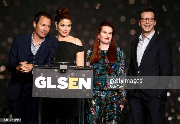 Eric McCormack Debra Messing Megan Mullally and Sean Hayes speak onstage at the GLSEN Respect Awards at the Beverly Wilshire Four Seasons Hotel on...