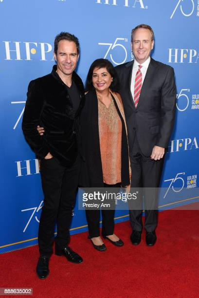 Eric McCormack Meher Tatna and Bob Greenblatt attend Hollywood Foreign Press Association Hosts Annual Holiday Party And Golden Globes 75th...