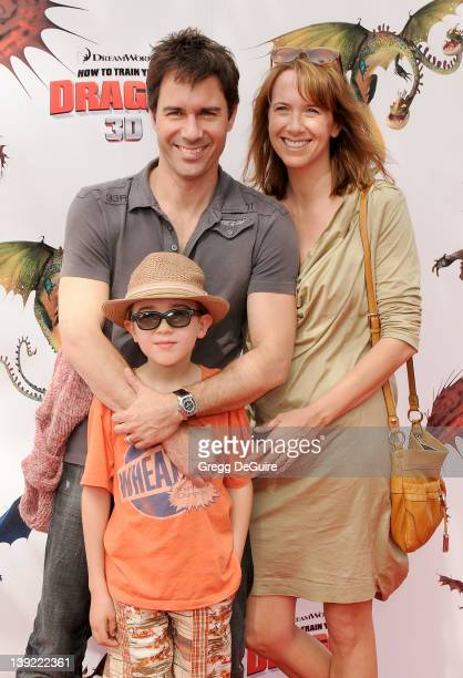 Eric McCormack son Finnigan and wife Janet arrive at the Los Angeles Premiere of How To Train Your Dragon at the Gibson Amphitheatre on March 21 2010...