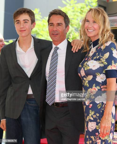Eric McCormack son Finnigan McCormack and wife Janet Holden attend the ceremony to receive his star on the Hollywood Walk of Fame on September 13...