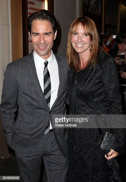 Eric McCormack wife Janet exiting the Stager Door after the Broadway Opening Night Performance of 'Gore Vidal's The Best Man' at the Gerald...
