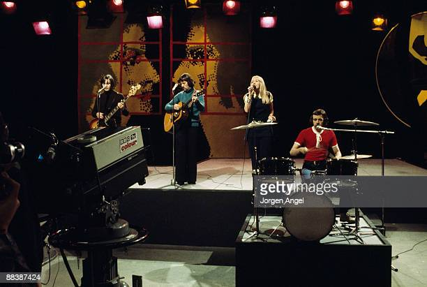 Eric McCredie Ian McCredie Sally Carr and Ken Andrew of pop group Middle of The Road perform on BBC TV show Top Of The Pops in 1972 in London