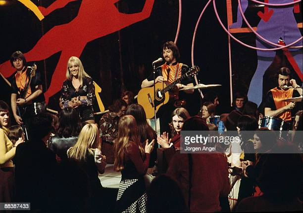 Eric McCredie Sally Carr Ian McCredie and Ken Andrew of pop group Middle of The Road perform on BBC TV show Top Of The Pops in 1972 in London