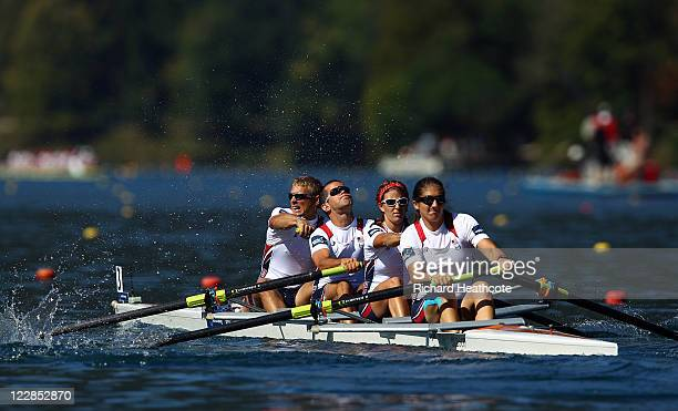 Eric McDaniel Andrew Johnson Emma Preuschl Eleni Englert Alexandra Stein of the USA compleate in the LTAMix4 Adaptive rowing heats during day two of...