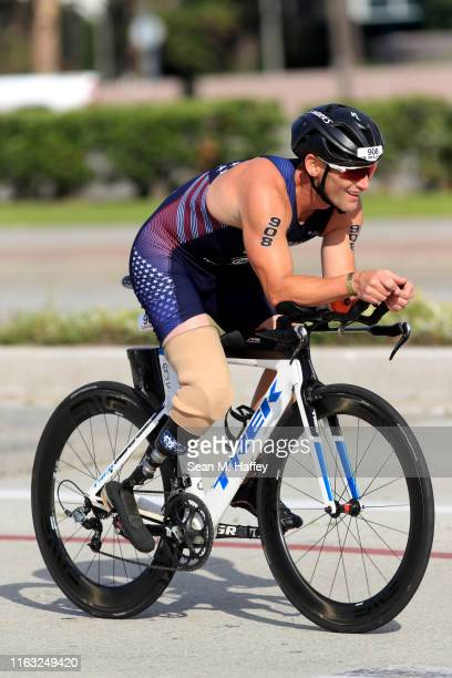Eric McElvenny competes during the Legacy Triathlon-USA Paratriathlon National Championships on July 20, 2019 in Long Beach, California.