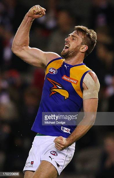 Eric McKenzie of the Eagles celebrates their win on the final siren during the round 11 AFL match between the St Kilda Saints and the West Coast...