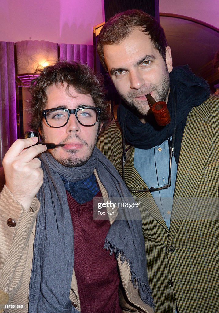 Eric Metzger and Quentin Margot from Le Petit Jouranl de Canal Plus attend the Prix de Flore 2013' : Ceremony Cocktail At Cafe De Flore on November 7, 2013 in Paris, France.