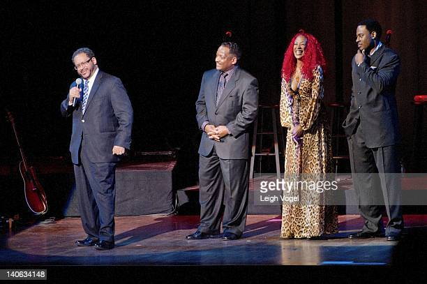 Eric Michael Dyson Donnie Simpson guest and Lamman Rucker are onstage during Somkey Robinson's concert at the John F Kennedy Center for the...