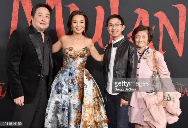 "Eric Michael Zee, Ming-Na Wen and Cooper Dominic Zee attend the Premiere Of Disney's ""Mulan"" on March 09, 2020 in Hollywood, California."