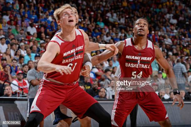 Eric Mika and Matt Williams of the Miami Heat boxes out during the Quarterfinals of the 2017 Summer League against the Memphis Grizzlies on July 15...