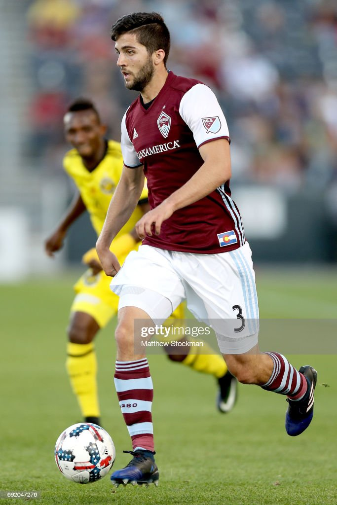 Eric Miller #3 of the Colorado Rapids advances the ball against the Columbus Crew SC at Dick's Sporting Goods Park on June 3, 2017 in Commerce City, Colorado.