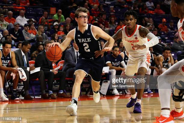 Eric Monroe guard of Yale during a college basketball game between the Yale Bulldogs and the Clemson Tigers on December 22 at Littlejohn Coliseum in...