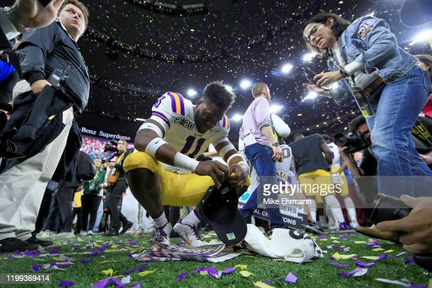 Eric Monroe of the LSU Tigers reacts after defeating the Clemson Tigers in the College Football Playoff National Championship game at Mercedes Benz...