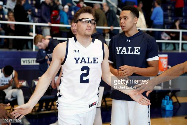 Eric Monroe of the Yale Bulldogs is introduced before a college basketball game against the against the Howard Bison at Burr Gymnasium on January 20...