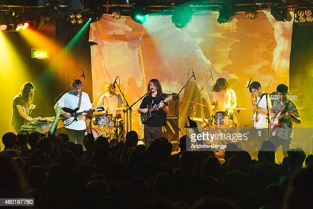 Eric Moore Ambrose KennySmith Cook Craig Stu Mackenzie Lucas Skinner Joe Walker and Michael Cavanagh of King Gizzard The Lizard Wizard performs on...