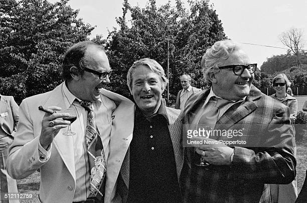 Eric Morecambe and Ernie Wise from comedy double act Morecambe and Wise posed with comedian Ronnie Barker at a BBC television press call in England...