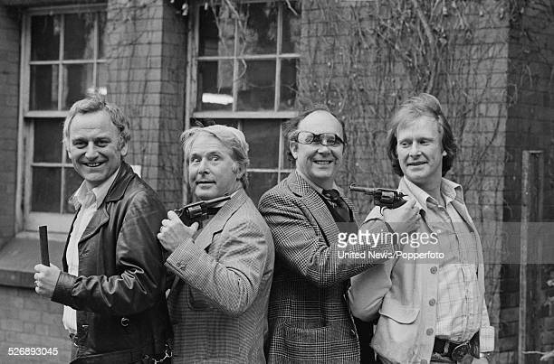 Eric Morecambe and Ernie Wise of British comedy duo Morecambe and Wise pictured together with actors John Thaw and Dennis Waterman from the...