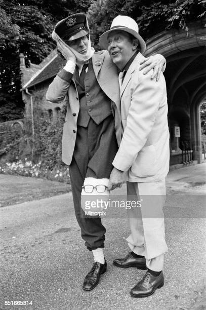 Eric Morecambe and Tom Baker on location at Hever Castle where they are making a comedy film 18th August 1982