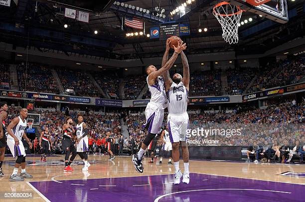 Eric Moreland and DeMarcus Cousins of the Sacramento Kings rebound against the Portland Trail Blazers on April 5, 2016 at Sleep Train Arena in...