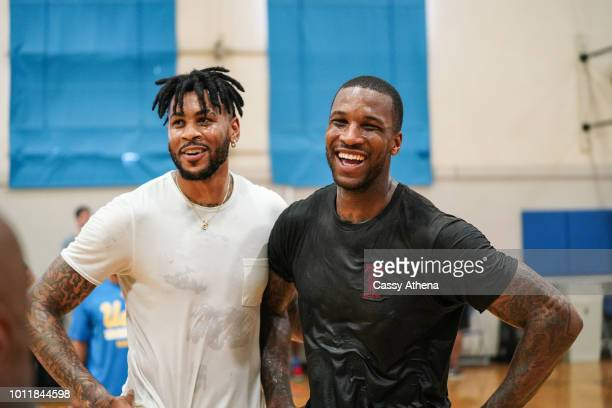 Eric Moreland and Thomas Robinson smile at an open run hosted by Rico Hines on August 1 2018 in Los Angeles California