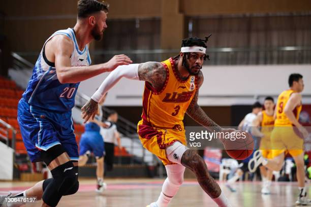 Eric Moreland of Shanxi Loongs drives the ball during 2020/2021 Chinese Basketball Association League match between Xinjiang Flying Tigers and Shanxi...