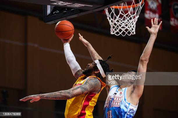 Eric Moreland of Shanxi Loongs goes to the basket during 2020/2021 Chinese Basketball Association League match between Xinjiang Flying Tigers and...