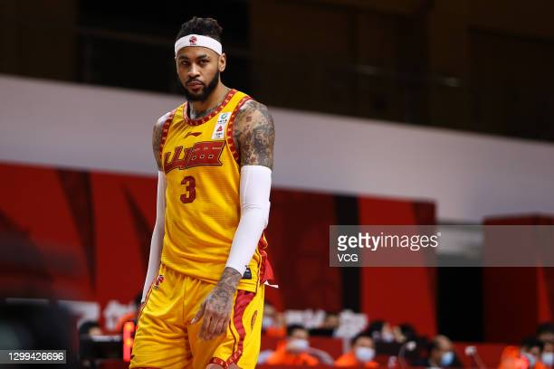 Eric Moreland of Shanxi Loongs reacts during 2020/2021 Chinese Basketball Association League match between Shanxi Loongs and Guangzhou Loong Lions on...
