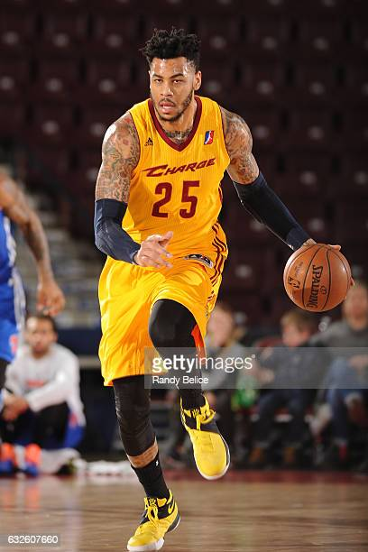 Eric Moreland of the Canton Charge dribbles the ball against the Westchester Knicks as part of 2017 NBA DLeague Showcase at the Hershey Centre on...