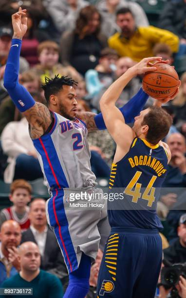Eric Moreland of the Detroit Pistons blocks the shot of Bojan Bogdanovic of the Indiana Pacers at Bankers Life Fieldhouse on December 15, 2017 in...