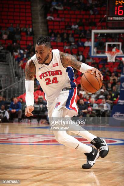 Eric Moreland of the Detroit Pistons drives to the basket against the Milwaukee Bucks on February 28 2018 at Little Caesars Arena in Detroit Michigan...