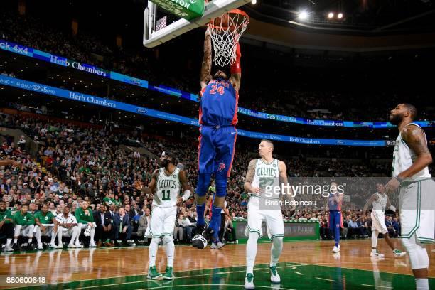 Eric Moreland of the Detroit Pistons dunks the ball against the Boston Celtics on November 27, 2017 at the TD Garden in Boston, Massachusetts. NOTE...