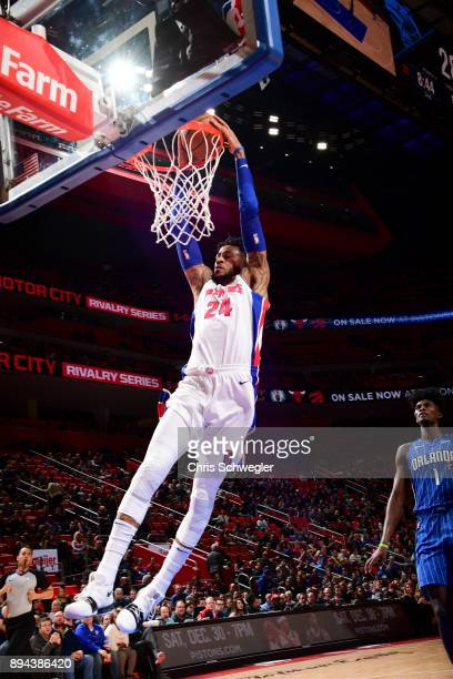 Eric Moreland of the Detroit Pistons dunks the ball against the Orlando Magic on December 17, 2017 at Little Caesars Arena in Detroit, Michigan. NOTE...