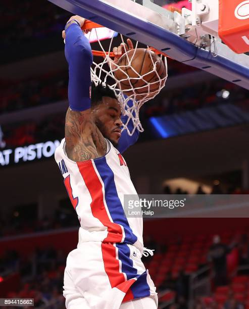 Eric Moreland of the Detroit Pistons dunks the ball during the second quarter of the game against the Orlando Magic at Little Caesars Arena on...