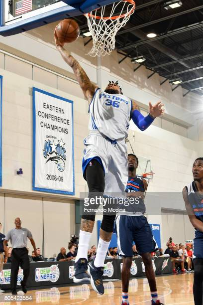 Eric Moreland of the Detroit Pistons goes to the basket against the Oklahoma City Thunder during the 2017 Summer League on July 1 2017 at Amway...