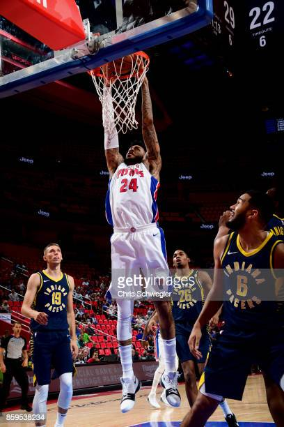 Eric Moreland of the Detroit Pistons goes to the basket against the Indiana Pacers on October 9 2017 at Little Caesars Arena in Detroit Michigan NOTE...