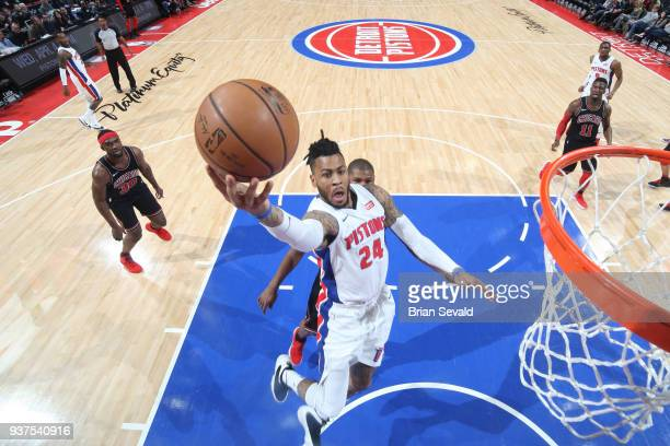 Eric Moreland of the Detroit Pistons goes to the basket against the Chicago Bulls on March 24 2018 at Little Caesars Arena in Detroit Michigan NOTE...