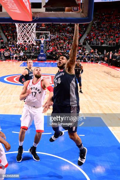 Eric Moreland of the Detroit Pistons goes to the basket against the Toronto Raptors on April 9 2018 at Little Caesars Arena Michigan NOTE TO USER...