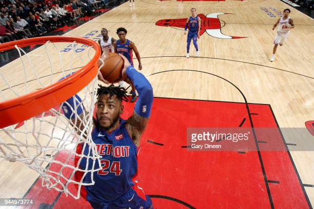 Eric Moreland of the Detroit Pistons goes up for a dunk against the Chicago Bulls on April 11 2018 at the United Center in Chicago Illinois NOTE TO...