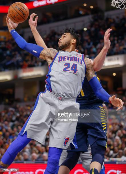 Eric Moreland of the Detroit Pistons grabs a rebound during the game against the Indiana Pacers at Bankers Life Fieldhouse on December 15, 2017 in...