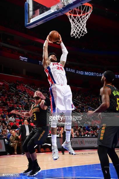 Eric Moreland of the Detroit Pistons grabs the rebound against the Atlanta Hawks on November 10, 2017 at Little Caesars Arena in Auburn Hills,...