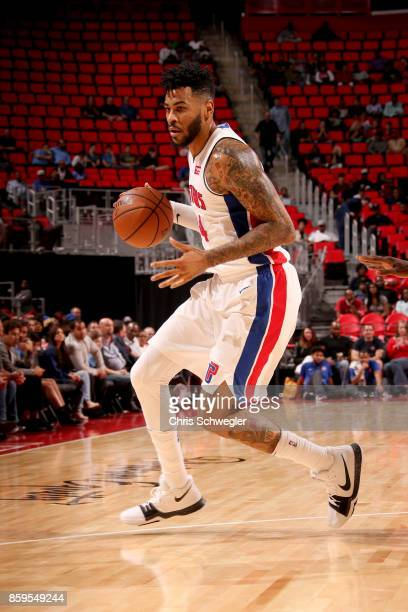 Eric Moreland of the Detroit Pistons handles the ball against the Indiana Pacers on October 9 2017 at Little Caesars Arena in Detroit Michigan NOTE...