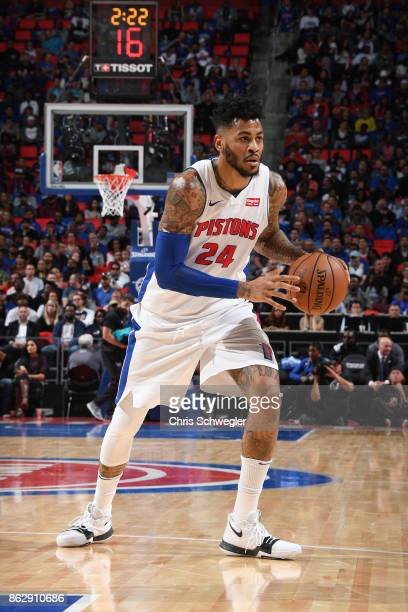 Eric Moreland of the Detroit Pistons handles the ball against the Charlotte Hornets on October 18 2017 at Little Caesars Arena in Detroit Michigan...