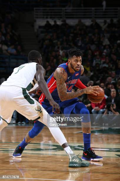 Eric Moreland of the Detroit Pistons handles the ball against the Milwaukee Bucks on November 15, 2017 at the BMO Harris Bradley Center in Milwaukee,...
