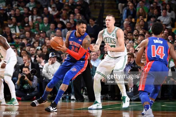 Eric Moreland of the Detroit Pistons handles the ball against the Boston Celtics on November 27, 2017 at the TD Garden in Boston, Massachusetts. NOTE...